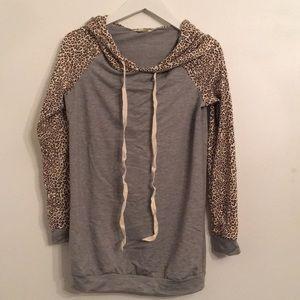 Grey Leopard Sleeve Hoodie